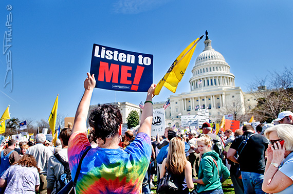 Citizens in opposition to the Democratic health-care bill made their voices heard on the West Lawn of the U.S. Capitol on March 20, 2010.