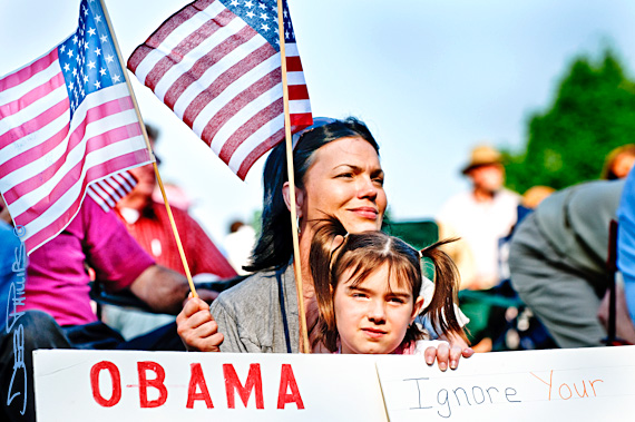 Mother and daughter at the Winston-Salem Tea Party rally on 4/15/10.