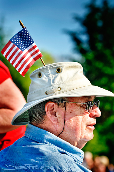 An older man was one of various ages who attended the Winston-Salem, NC Tea Party on 4/15/10.