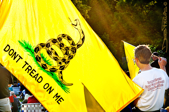 The Revolutionary War-era Gadsden flag is often seen at Tea Party rallies.