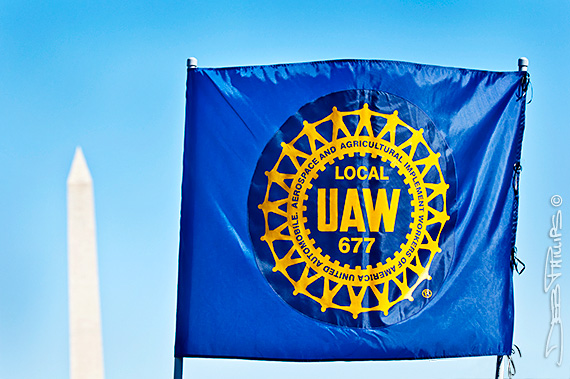 UAW flag held at the Lincoln Memorial at the One Nation Working Together Rally