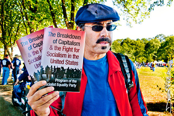 Social organizer hawking books at One Nation Working Together Rally