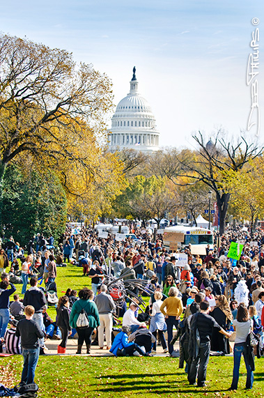 View of U.S. Capitol from the edge of the National Mall at the Rally to Restore Sanity and/or Fear