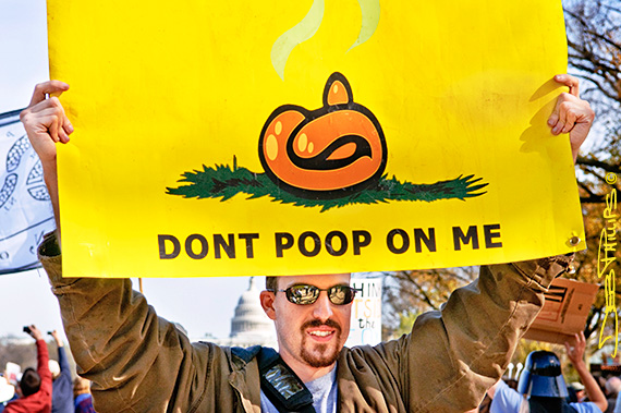 Don't Poop on Me Sign at the Rally to Restore Sanity and/or Fear