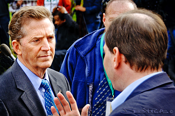 Sen. Jim DeMint speaks with a gentleman at the November Speaks Rally in Washington, DC on November 15, 2010