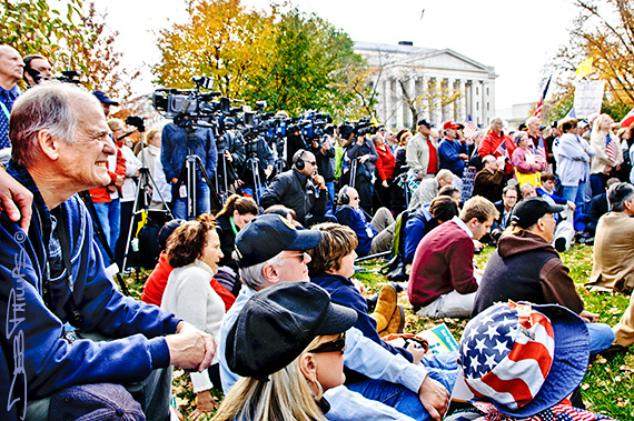 Crowd and media at the November Speaks Rally in Washington, DC