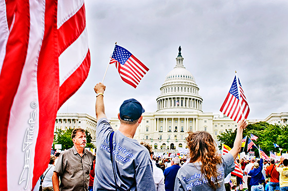 Flags were lifted high by the crowd at the Washington, DC Tea Party.