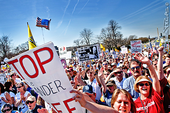 Thousands gathered on the west lawn of the Capitol to protest against the Democrats' proposed health-care legislation.