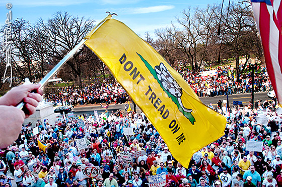 """Americans wait outside the front doors OF the Rayburn House Office Building. A """"Don't Tread on Me"""" sign is waved overhead."""