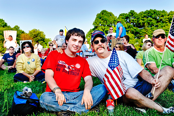 A father and son attended the 4/15/10 Winston-Salem Tax Day Tea Party.