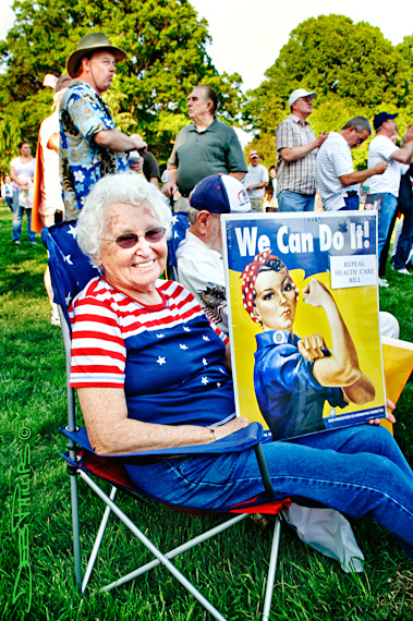 A woman senior citizen attended the 4/15/10 Winston-Salem Tax Day Tea Party.