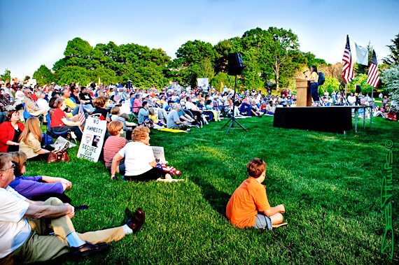 A crowd gathered on Davis Field at WFU for the 2010 Tax Day Tea Party.