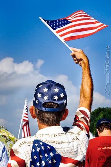 Man waving the flag at Glenn Beck's Restoring Honor Rally, Washington, DC - 8/28/10