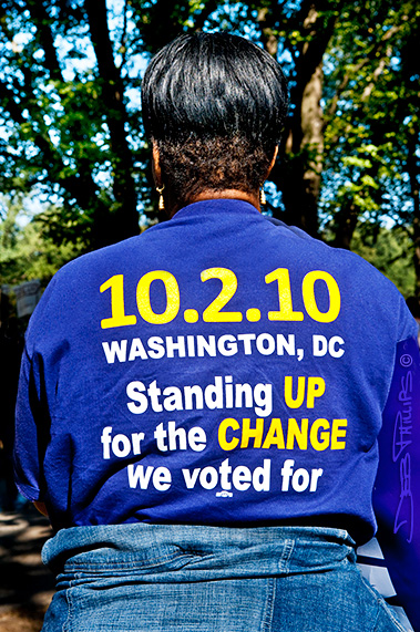 Back of T-shirt at the One Nation Working Together Rally