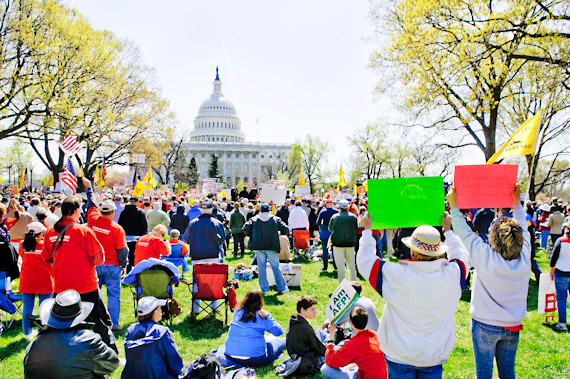 """""""Hands Off My Health Care"""" Rally held in Upper Senate Park, Washington, DC on March 27, 2012. Sponsored by Americans for Prosperity (AFP). Second day of U.S. Supreme Court oral arguments for ObamaCare."""